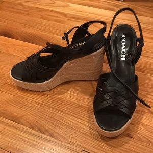 Coach Shoes - Coach Wedge Black Espadrilles